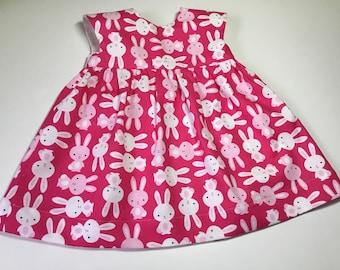 Spring Summer Dress - Girls Cotton Dress - Bunny Dress - Girls Summer Dress