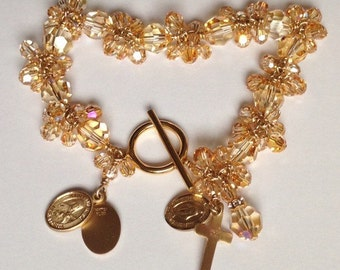 Gold Rosary Bracelet Swarovski Crystal 14K Gold filled wire 3 gold filled medals with earrings