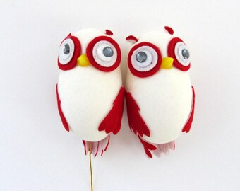 Vintage Owl Flock, Felt, Velvet, Google Eyes, Owl Ornament, Owl Pick, Set of 2