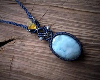 Macrame necklace. Macrame stone pendant. Micromacrame necklace. Gemstone healing jewelry. Long pendant. Pastel Necklace. Necklace larimar