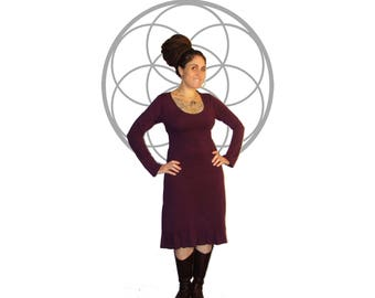 Organic Dress - Organic Cotton and Bamboo Long Sleeve Ruffle dress - Custom Made and Hand dyed just for you You choose from 15 colors