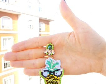 Lightweight earrings, patch earrings, handmade earrings, pineapple earrings.
