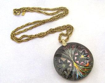 Vintage MONET Pendant Necklace, Carnival Glass Pendant Goldtone Chain, Designer signed jewelry