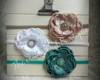 Headband trio/ Rhinestone satin floral headband