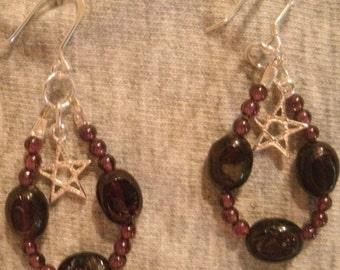 Garnet and Sterling Silver Earrings