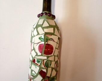 Mosaic Wine Bottle Candle