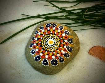 Mandala Stone, Hand Painted Rock, Southwestern, Handmade, Dot Painting, Multi Color, Home and Indoor Garden Decor Rock, Zen, Meditative Art