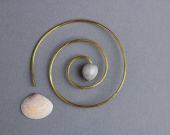 large spiral earring with Job's tears seed - hammered brass geometric thread hoop - sacred geometry - single earring