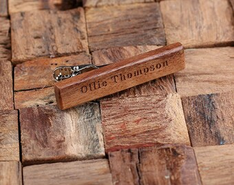 Personalized Men's Classic Wood Tie Clip Monogrammed Engraved Groomsmen, Best Man, Father's Day Gift