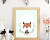 PRINTABLE.Fox wall art. F...