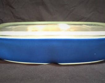 Pyrex Blue Horizon 1.5 qt divided casserole dish with clear lid