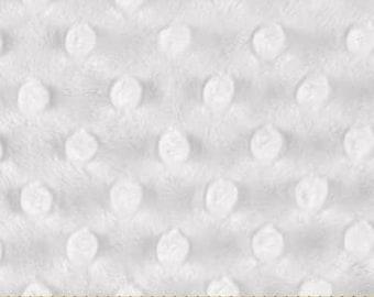 Shannon Minky Dimple Dot Cuddle Fabric - Snow White - nursery decor baby blanket fabric - HALF YARD cut