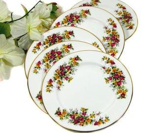 Five Marlborough Bone China Dessert Plates Cottage Roses