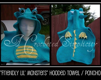 """Crochet Pattern: """"Friendly Lil' Monsters"""" Poncho Style Swim Cover-Up, 100% Cotton Beach Cover, Permission to Sell Items"""