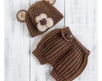 Newborn bear hat and diaper cover, Bear baby costume, Baby boy bear outfit, Bear crochet animals set, Infant bear beanie, Newborn photo prop