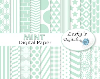 Mint digital paper - MINT green scrapbook paper pack - Digital background patterns: Chevron, polkadots, stripes, dots, stars, triangles
