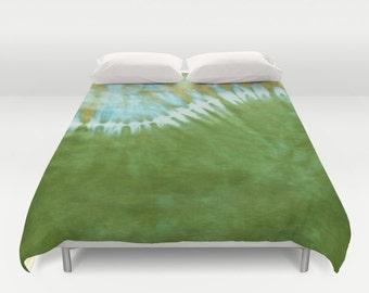 Duvet Cover-Comforter Cover-Tie Dye Bedding-Green Wave -Blanket Cover-King Queen Full Twin