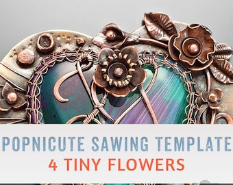 DIGITAL SAWING TEMPLATES - 4 Tiny Flower Designs for Jewelry Making