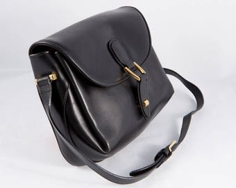 Ferramoro Black Leather Shoulder Bag