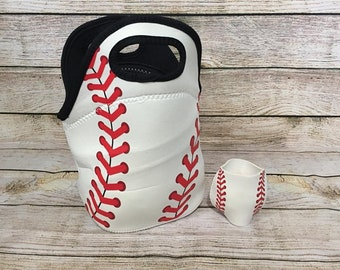 Baseball Lunch Bag with inside zipper