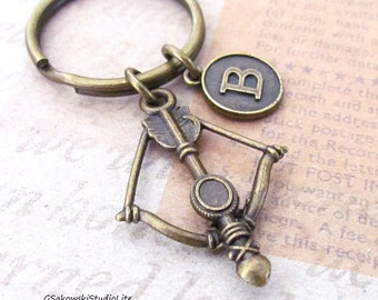 Bow and Arrow Charm Keychain, Personalized Antique Brass Initial Bow and Arrow Charm Key Ring, Choose your Initial Style