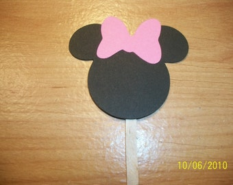 Minnie Mouse cupcake toppers- set of 60- light pink and white polka dot bow
