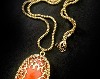 Huge Victorian Goth-Style Faux Amber Pendant Necklace