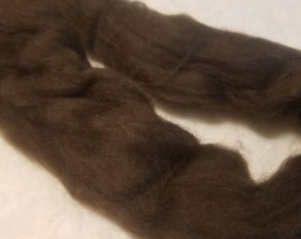 CRAZY Yak combed top roving 100% to spin Dark Chocolate  luxury fiber 2 oz