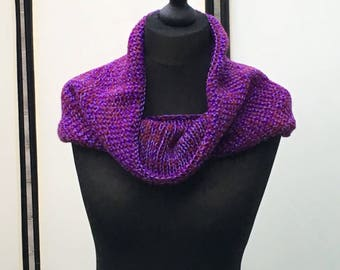 The Claire Cowl, knitted cowl, wrist warmers, chunky knit, purple