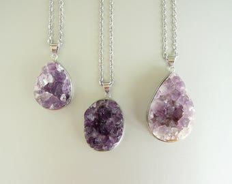 Amethyst Necklace Natural Raw Amethyst druzy Necklace for women Healing Crystal pendant Long Necklace Silver Amethyst necklace Stone jewelry