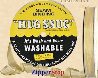 "CAMELS HAIR 020  - Hug Snug Seam Binding - 100 yard roll 1/2"" Wide - 100% Woven-Edge Rayon - Sewing Trim & Craft Supply - Washable"