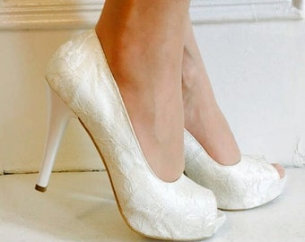 Wedding Shoes, Lace Wedding Shoes, Lace High Heels, Bridal Lace Shoes, Lace Shoes, Ivory Lace Shoes, Ivory Wedding Shoes, Lace Shoes, Ivory