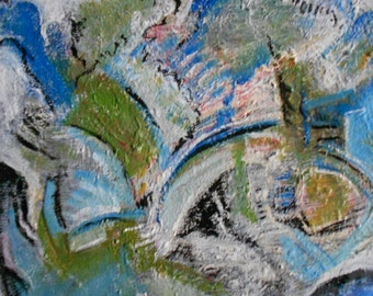 MIAMI BLUES- Oil painting-contemporary-Original Fine Art--Abstract- gift idea