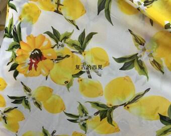 """59"""" WIDTH new arrival yellow lemon fruits pattern white black chiffon fabric by yard dress"""