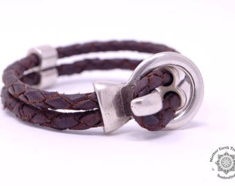 LOVE | Silver Ring Leather Bracelet | Delicate Braided Leather Bracelet for Women | Hand-made Jewellery