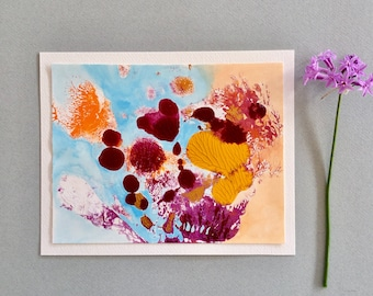 Small original painting, original art, abstract art, mixed media, coral reef
