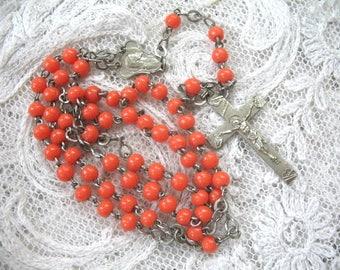 Vintage Rosary ~ Orange Glass Bead Rosary ~ Catholic  Rosary ~ Smaller Size