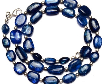 Natural Gemstone Smooth Blue Kyanite Big 8x7 to 13x10MM Nugget Beads 19 Inch Full Strand Fine Quality Beads from Nepal Complete Necklace