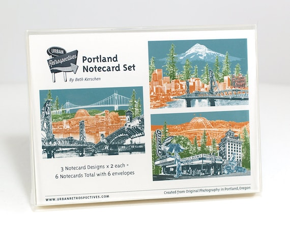 Portland Notecard Set - full color - Portland, Oregon - 6 folded Greeting Cards