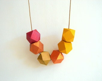 Autumn Geometric Necklace , hand painted Natural Wood  Necklace,Geometric Jewelry