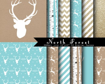 SALE North Forest Christmas Digital Scrapbook Papers -Gold Glitter, aqua, kraft paper, Deer antler