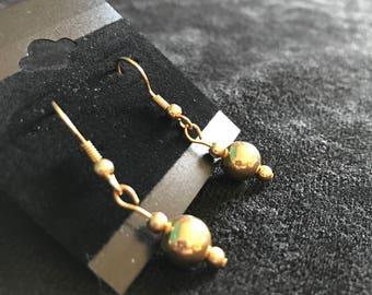 Gold Sphere Dangling Earrings