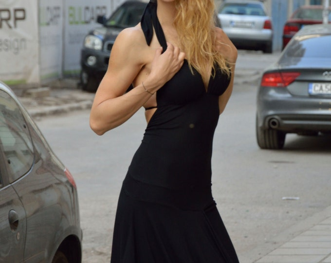 Black Summer Dress, Women's Day Wear Clothing, Caftan Dress, Casual Dress, Viscose Party Dress by SSDfashion