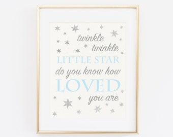 Twinkle twinkle little star do you know how loved you are, Baby Shower Sign, Baby Shower Decoration, Silver BLUE Baby Birthday Printable Art