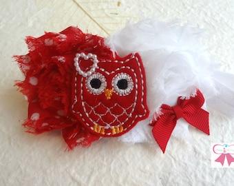 Valentine headband, Valentine Owl Girls headband /  Red and white Owl headband / Baby Headbands / Baby Photo Props, newborn headband