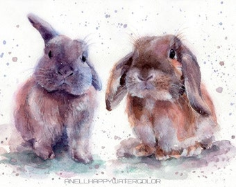 Christmas gift Bunny print Portrait of 2 bunnies Watercolor painting Print of my watercolor painting Rabbit painting