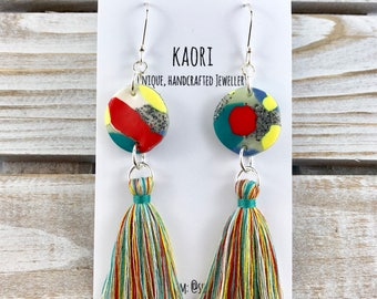 Statement tassel earrings with handcrafted polymer clay- yellow, red, stone and white with Sterling Silver hooks