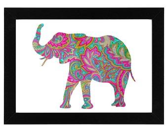 Paisley Elephant print - bright, psychedelic wall art