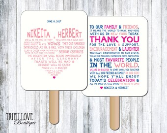 Personalized Sweetheart Wedding Ceremony Program Fan - Digital File