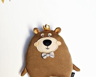 "TEDDY THE KING, stuffed teddy bear, baby gift toys, baby nursery toys, baby plush bear, baby nursery teddy bear, baby shower gift, 10""."